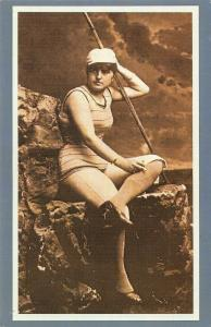 Nostalgia Postcard Oarswoman, The Perils of Female Emancipation Repro Card 95S