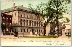 Newark, New Jersey Postcard Public Library Street Scene c1900s Undivided Back