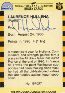 Laurence Hullena Wellington NZ Rugby Team 1991 Hand Signed Card Photo