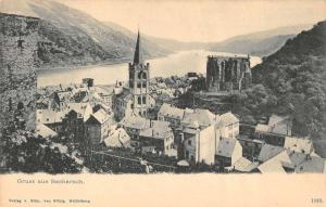 Bacharach Germany Gruss aus panoramic birds eye view antique pc Y12330