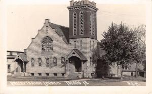 Toledo Iowa~Presbyterian Church~Dutch Stepped Facade~Porte Cocheres RPPC