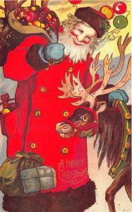 Christmas Santa Claus Hill with His Bag Reindeer Embossed Postcard