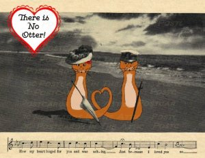 Single (1) Postcard, Otters in a Romantic Vintage Postcard Scene, Original Art