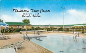 Clarksdale Mississippi~Plantation Hotel Courts~Pool~Diving Board~Hwy 61~1950s