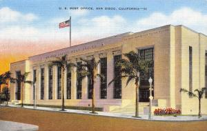 San Diego California~U S Post Office~1940 Postcard
