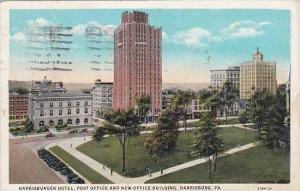 Pennsylvania Harrisburg Harrisburger Hotel Post Office And New Office Buildin...