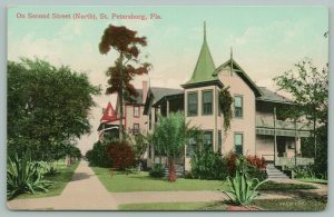 St Petersburg Florida~2nd Street North~Beautiful Home Corner~Palm in Yard~c1910
