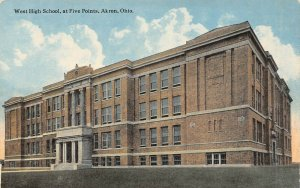 LP96   Akron Ohio Postcard West High School at Five Points