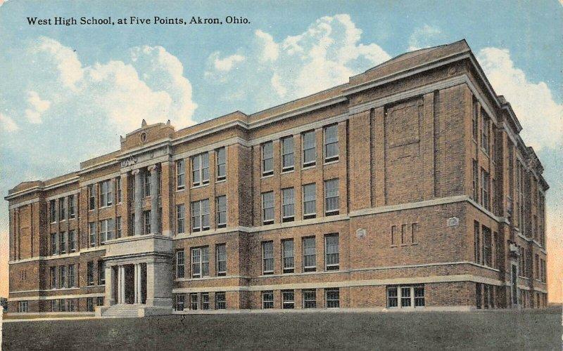 LP96   Akron Ohio Postcard West High School at Five Points
