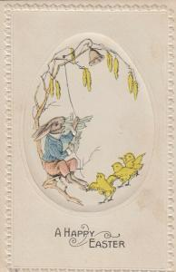 EASTER; A Happy Easter, 1900-10s; Rabbit ringing bell, Chicks