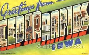 Greetings From Cedar Rapids, Iowa, USA Large Letter Town 1940 light corner we...