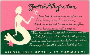 St. Thomas, U.S. Virgin Islands Postcard FOOLISH VIRGIN BAR Virgin Isle Hotel