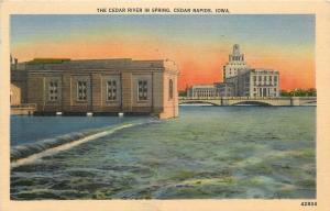 Cedar Rapids Iowa~Cedar River in Spring~Power House~1945 Postcard
