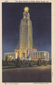 The State Capitol at night, Baton Rouge, Louisiana,  30-40s