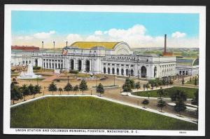 Union Station & Columbus Memorial Fountain Washington DC Unused c1920s