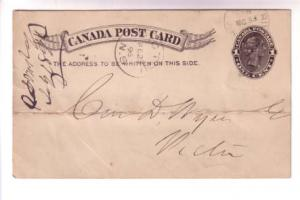 Canada Stationery Victoria 1 Cent, CDS Cancel Pictou NS, River John, 1896