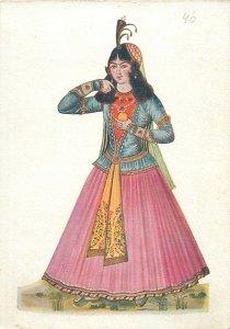 Iran miniature woman young costume folk Postcard