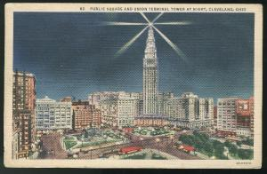 Cleveland OH Public Square and Union Terminal Tower at Night Curteich Linen 1937