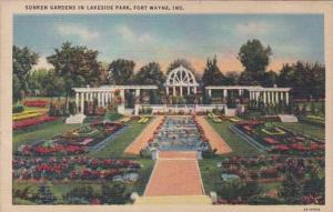 Indiana Fort Wayne Sunken Gardens In Lakeside Park 1948 Curteich