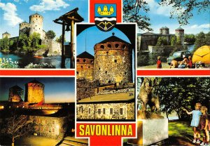 B108325 Finland Savonlinna Castle, Tower Chateau Statue Towers real photo uk