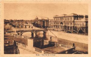 Vintage Sepia Postcard ROME Roma Vista da tor di nona View from Tor ninth ITALY