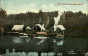 Camping Tents in Adirondacks Postcard - Algonquin Cancel 1908