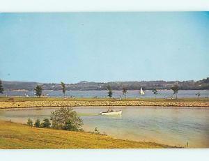 Unused Pre-1980 BOAT & ATWOOD LAKE PARK SCENE New Philadelphia Ohio OH r8603