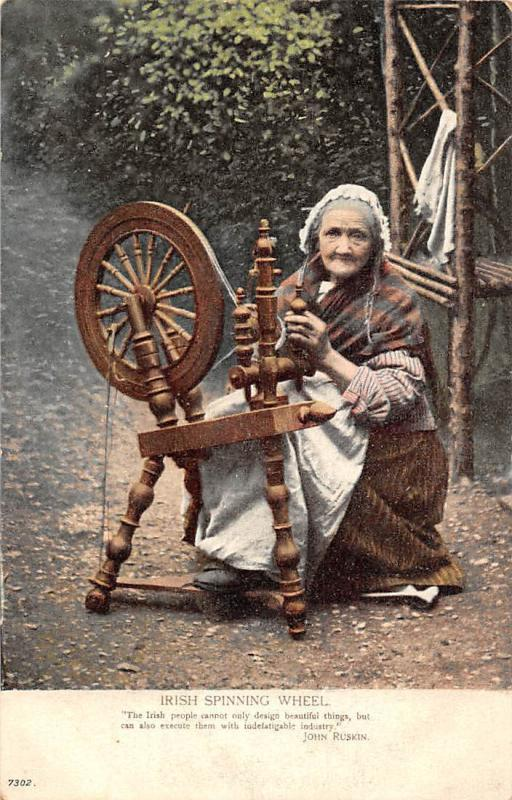 Ireland Irish Spinning Wheel, Old Native Woman, John Ruskin