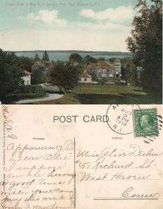 EAST GREENWICH R.I. BAY VIEW SPENCER AVENUE 1910 ANTIQUE POSTCARD CORK CANCEL