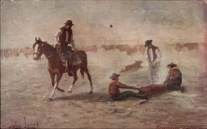 Cowboys Branding Cattle Calf c1910 Postcard - John Innes