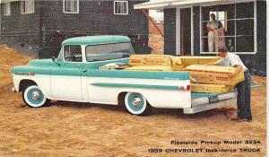 1959 Chevrolet Fleetside Pickup Model 3234 Task Force Truck Postcard