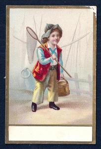 VICTORIAN TRADE CARD Boy w/Fishing Gear