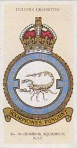 Player Vintage Cigarette Card R A F Badges N0 41 No 84 Bomber Squadron  1937