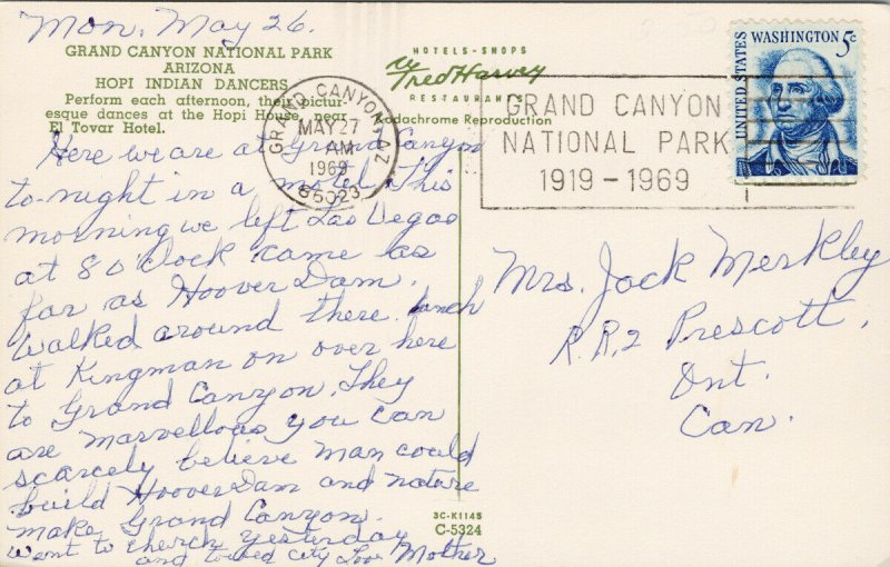 Hopi Indian Dancers Grand Canyon National Park AZ Arizona c1960s Postcard F93