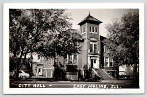 East Moline Illinois~City Hall~Basement Garage~Fire Dept?~Nagel's~1950 RPPC
