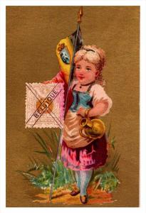 Belgique  Stamp, Flag, Girl   Victorian Philatelic Trade Card