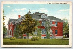 Jackson Michigan~Fire Escapes & Landing on Side of City Hospital~1921 Postcard