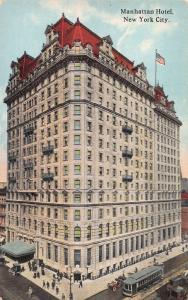 Manhattan Hotel, New York, N.Y., Early Postcard, unused