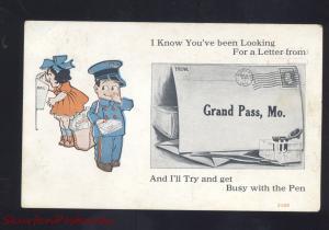 GRAND PASS MISSOURI DUTCH CHILDREN MAILMAN VINTAGE POSTCARD LAKE CITY MO.