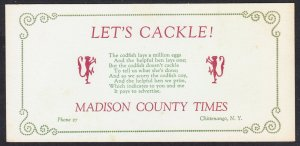 "Chittenango NY – Madison County Times blotter – ""Let's Cackle"" jingle"