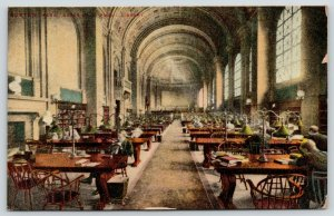 Boston~Long Aisle Vaulted Ceiling~Folk Reading/Studying in Public Library~1913