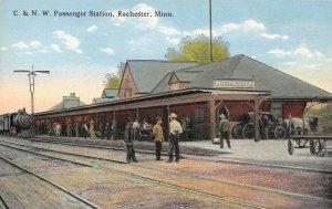 C & NW Passenger Station, Rochester, MN Railroad Depot ca 1910s Vintage Postcard
