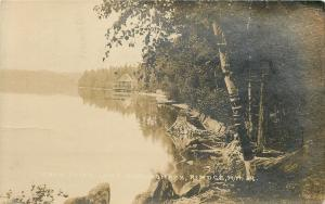 Rindge New Hampshire~Lake Monomonac Swan Point~House, Porch Over Water 1919 RPPC