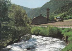 Postal 60929: Vista parcial e iglesia romanica (Andorra)