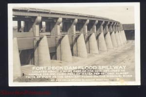 RPPC GLASGOW MONTANA FORT PECK DAM FLOOD SPILLWAY OLD REAL PHOTO POSTCARD