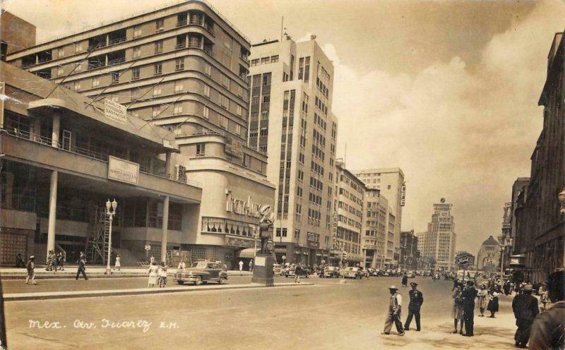 RPPC Av. Juarez, Mexico City Street Scene c1940s Vintage Photo Postcard