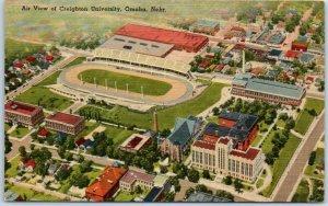 Omaha, Nebraska Postcard Air View of CREIGHTON UNIVERSITY Stadium Linen 1947