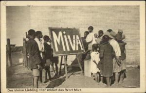 Black Children w/ Chalkboard - MIVA Mission - German Postcard