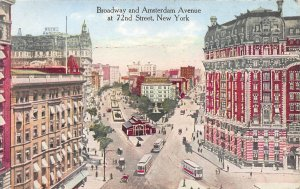 Broadway & Amsterdam Ave. at 72nd St., New York, N.Y.,  Early Postcard, Unsed