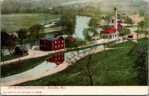 Baraboo Wisconsin~Birdseye City Water Pumping Station~Houses~c1910 Postcard